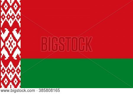 National Flag Of The Belarus. The Main Symbol Of An Independent Country. Flag Of Belarus. An Attribu