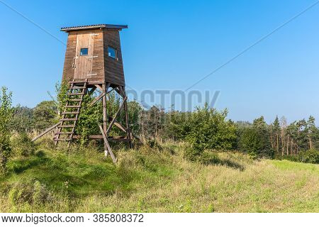 Hunting Tower In Nature,czech Republic. Lookout Tower For Hunting In Summer Day. Agricultural Landsc
