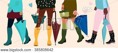 Set Of Four Pairs Female Legs In Cool Rubber Boots And Hands With Different Types Of Trendy Umbrella