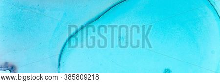 Abstract Teal Background. Watercolour Landscape. Blue Ocean Art Texture. Sophisticated Color Paint.