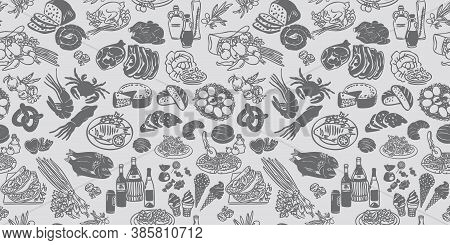Seamless Food Pattern. Vector Doodle With Food Icons. Background Elements For Menu, Cafe, Shop. Outl