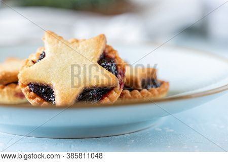 Christmas Homemade Mince Pies On Blue Ceramic Plate