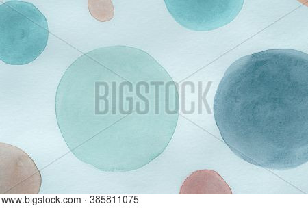 Red Scribble Circle Template. Watercolour Round Illustration. Cute Aquarelle Painting. Children Prin