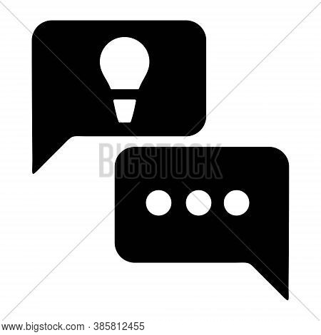 Idea Chat Icon. Idea With Speech Bubble Icon. Discussion, Brainstorming New Ideas. Text Message, Cha