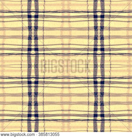 Blue Square Plaid. Seamless Buffalo Tweed. Scotland Check Pattern. Modern Woven Repeat. Square Plaid