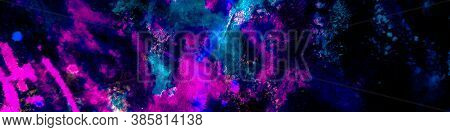 Dirty Art Graffiti. Psychedelic Pattern Depth Background. Neon Creative Dirty Background. Particles