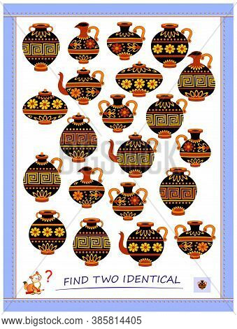 Logic Puzzle Game For Children And Adults. Find Two Identical Antique Jugs. Printable Page For Kids