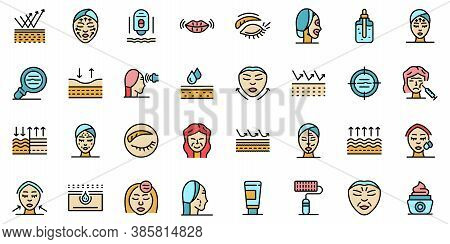Wrinkles Icons Set. Outline Set Of Wrinkles Vector Icons Thin Line Color Flat On White