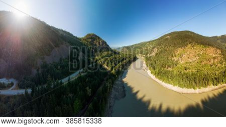 Beautiful Panoramic View Of Canadian Nature And A Scenic Road, Trans-canada Hwy, During Sunny Summer