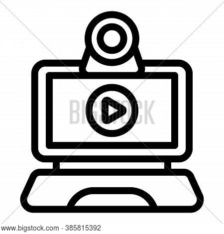 Tutorial Online Meeting Icon. Outline Tutorial Online Meeting Vector Icon For Web Design Isolated On