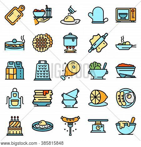 Homemade Food Icons Set. Outline Set Of Homemade Food Vector Icons Thin Line Color Flat On White