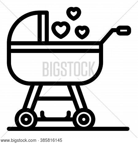 Family Baby Pram Icon. Outline Family Baby Pram Vector Icon For Web Design Isolated On White Backgro
