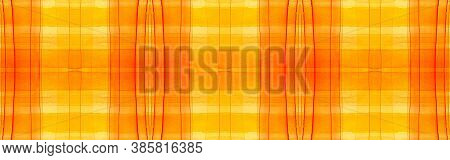 Yellow Tartan Background. Watercolour Picnic Material. Color Geometric Squares For Cloth Design. Sea