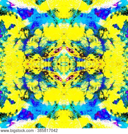 Neon Tie Watercolor Pattern. Seamless Ink. Rainbow Space Tie Dye. Multicolored Ink. Shibori Seamless