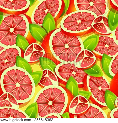 Tropical Grapefruits Halved And Sliced Pattern. Vector Seamless Pattern Design For Textile, Fashion,