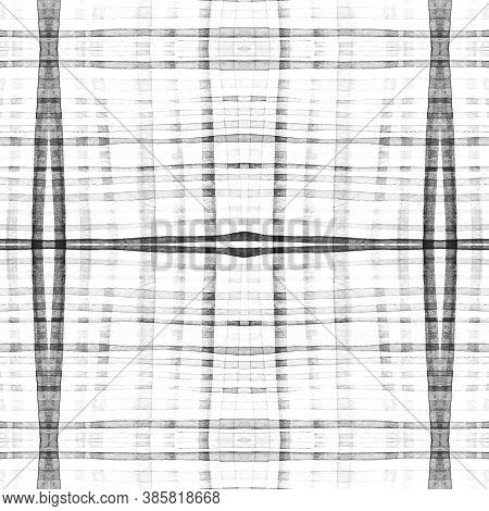 Plaid Shirt Prints. Watercolour Picnic Border. Woven Geometric Stripes For Kilt Design. Seamless Men