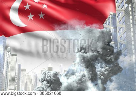 Large Smoke Column In The Modern City - Concept Of Industrial Accident Or Terroristic Act On Singapo