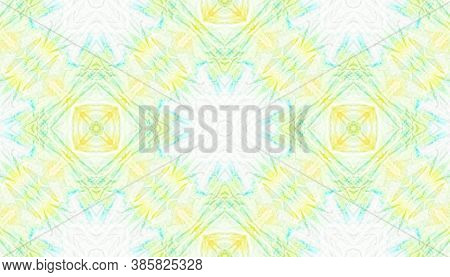 Boho Water Print. Watercolor Artistic Traditional Background. Yellow, Green And White. Tie-dye Boho