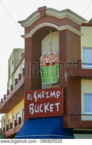 Mazatlan, Mexico - April 23, 2008: Displays Above Entrance To El Shrimp Bucket Seafood Restaurant On