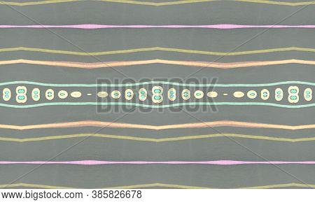Seamless Tribal Background. Gray American Ethnic Pattern. Drawn By Pencil Shibori Motif. Geometric B