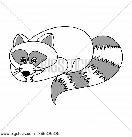 Cute Raccoon Lying On The Surface, Fluffy Wild Animal With Scaly Tail, Coloring Page With Partial Gr