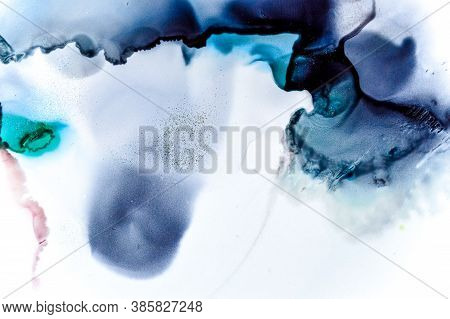 Water Paper With Alcohol Ink Paint. Color Drop Design. Sophisticated Flow Art. Ethereal Background.