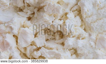 Close-up Top View Of Cottage Cheese,appetizing Cheese.natural Cottage Cheese
