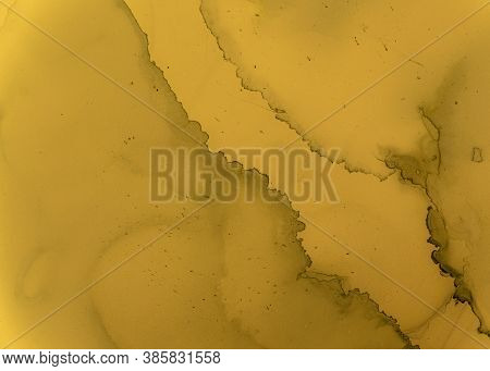 Black And Yellow Abstract Acrylic Texture. Color Fluid Background. Watercolor Motion Design. Artisti