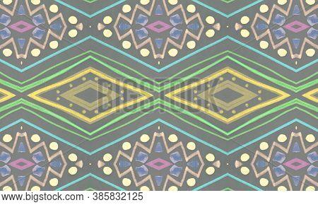 Colorful Tribal Ornament. Gray African Ethnic Pattern. Brush Paint Shibori Border. Geometric Traditi