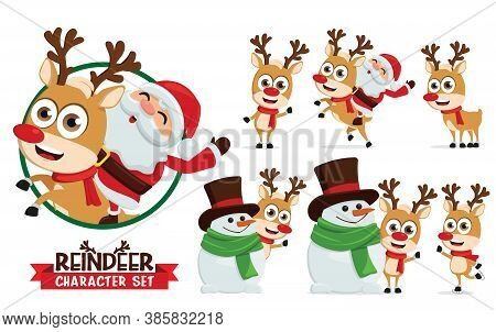 Reindeer Vector Characters Set. Reindeers Character Like Santa Ride, Skating, And Playing With Snowm