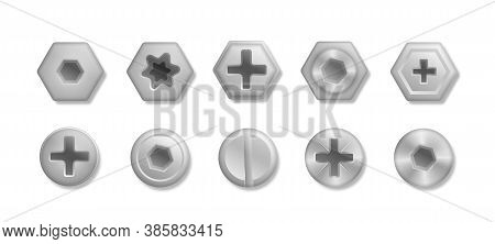 Collection Of Different Heads Of Bolts, Screws, Nails, Rivets. Set Of Metallic Shiny Screws And Bolt