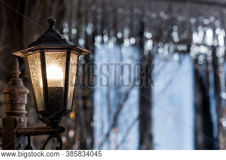 Vintage Frosty Lamppost. Light In The Night Christmas City.