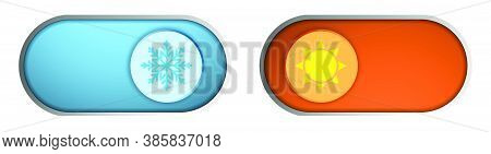 Climate Control Regulator. Button With Sign Of Cold, Snowflakes And Heat, Sun. Sliders With Signs Of