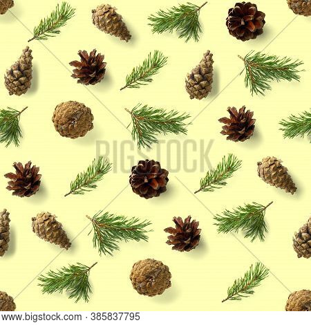 Seamless Christmas Pattern From Pine Cones On Yellow Background. Modern Pine Cone Christmas Collage.