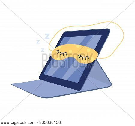 Sleeping Switched Off Digital Tablet Cartoon Flat Vector Illustration Isolated.