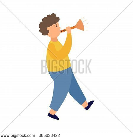 Little Child Boy Character Playing On Trumpet Flat Vector Illustration Isolated.