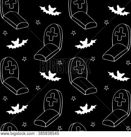 Happy Halloween. Seamless Pattern Of Doodles Graves, Tombstone, Crosses And Bat. Night At The Cemete
