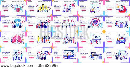 Set Of Landing Page Design Templates, Big Collection Of Covid-19 Coronavirus, Doctor And Nurses Figh