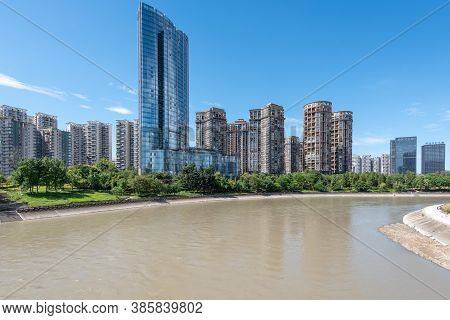 Chengdu, Sichuan Province, China - Aug 24, 2020 : Minyoun Central Hotel And Residential Buildings Al