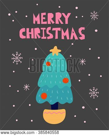 Merry Christmas Postcard. New Year Card With Xmas Tree And Lettering, Winter Festive Gift Card, Noel