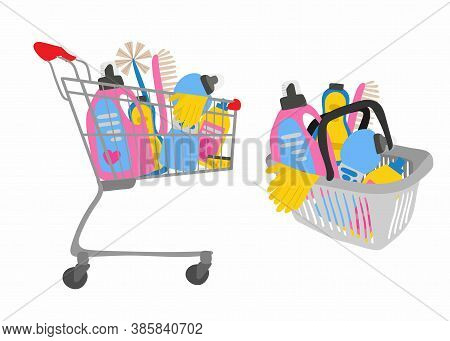 Shopping Trolley And Basket Full Of Cleaning Supplies, Sponge For Washing Dishes And Household Chemi