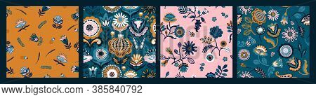 Set Of Folk Floral Seamless Patterns. Modern Abstract Design