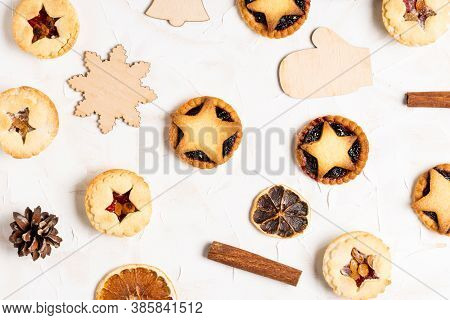 Christmas Homemade Mince Pies Flat Lay On White Cement Background