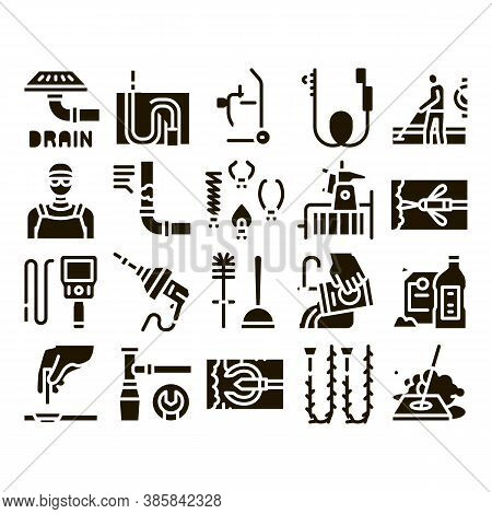 Drain Cleaning Service Glyph Set Vector. Drain System Clean Equipment And Agent Cleanser, Worker Cle