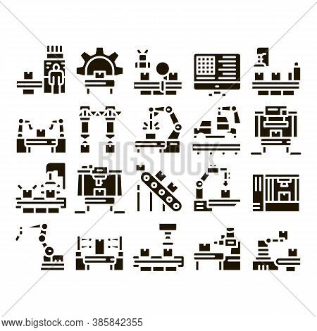 Manufacturing Process Glyph Set Vector. Manufacturing Conveyor Car And Products, Factory Computer Se