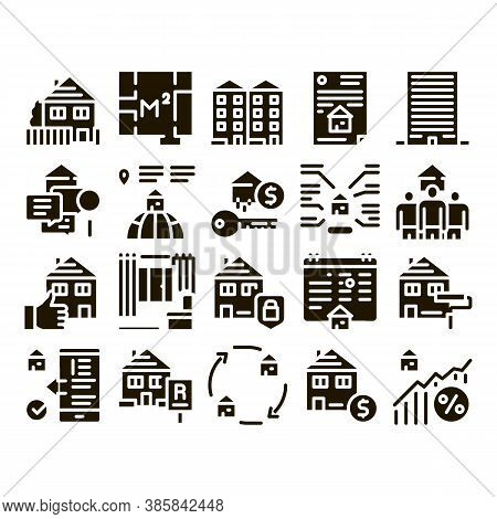 Apartment Building Glyph Set Vector. Apartment Floor Plan Architectural Project And House, Real Esta