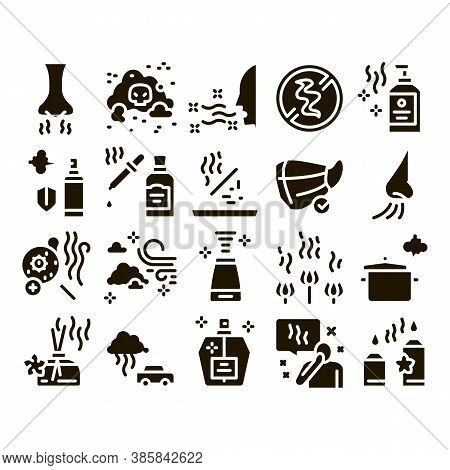 Odor Aroma And Smell Glyph Set Vector. Nose Breathing Aromatic Odor And Clean Air, Perfume And Oil B