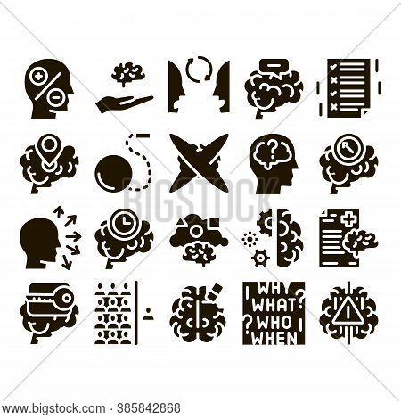 Dementia Brain Disease Glyph Set Vector. Dementia Mind Degenerative Illness, Memory Loss And Poor Sp