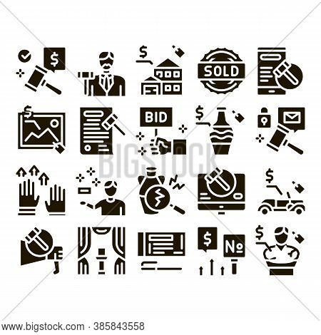 Auction Buying And Selling Goods Icons Set Vector. Internet Auction And Application, Hammer And Car,