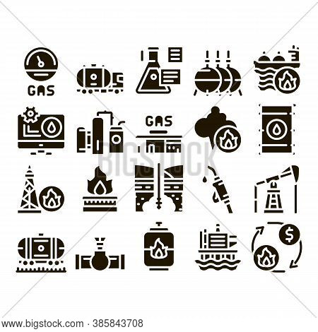 Gas Fuel Industry Glyph Set Vector. Gas Truck Cargo Delivery And Carriage Transportation, Station An